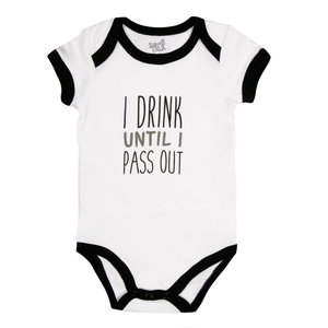 Pass Out by Sidewalk Talk - 6-12 Months Black Trimmed Onesie