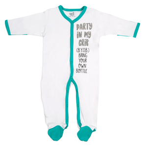 (B.Y.O.B.) by Sidewalk Talk - 0-6 Months Teal Trimmed Sleeper