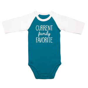 Family Favorite by Sidewalk Talk - 6-12 Months 3/4 Length Sleeve Prussian Blue  Onesie
