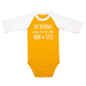 Moon and Back by Sidewalk Talk - 6-12 Months 3/4 Length Sleeve Mustard Onesie