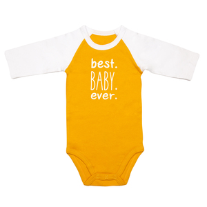 Best Baby by Sidewalk Talk - 6-12 Months 3/4 Length Sleeve Mustard Onesie