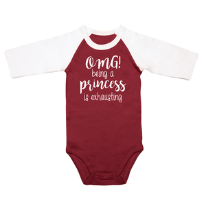 Princess by Sidewalk Talk - 6-12 Months 3/4 Length Sleeve Maroon Onesie