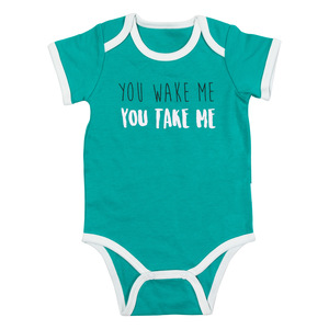 You Wake Me by Sidewalk Talk - 6-12 Months Teal Bodysuit