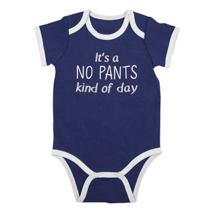 No Pants by Sidewalk Talk - 6-12 Months Navy Bodysuit