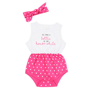 House White by Sidewalk Talk - 6-12 Months White & Pink Romper with Headband