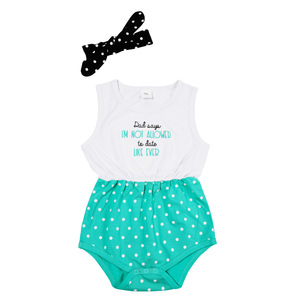 Not Allowed by Sidewalk Talk - 6-12 Months White & Teal Romper with Headband