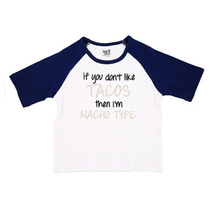 Nacho Type by Sidewalk Talk - 2T 3/4 Length Navy Sleeve Shirt