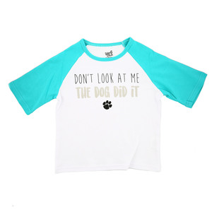 Dog Did It by Sidewalk Talk - 2T 3/4 Length Teal Sleeve Shirt