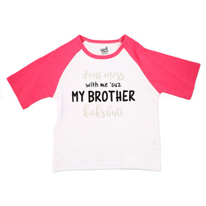 My Brother by Sidewalk Talk - 2T 3/4 Length Pink Sleeve Shirt