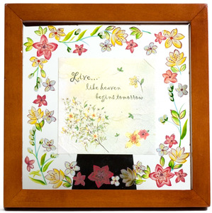 "Life by Fields of Joy - 6.5"" Sq. Glass Frame/Pla"