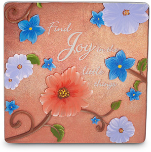 "Joy by We Love - 5.5"" x 5.5"" Glass Plaque"