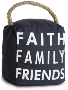 "Faith Family Friends by Open Door Decor - 5"" x 6"" Dark Gray Door Stopper"
