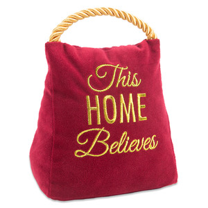 "Believes by Open Door Decor - 5"" x 6"" Velvet Door Stopper"