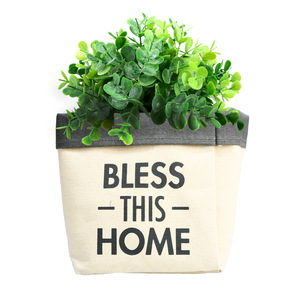 "Bless This Home by Open Door Decor - Canvas Planter Cover (Holds a 6"" Pot)"