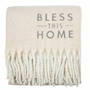 "Bless This Home by Open Door Decor - 50"" x 60"" Herringbone  Blanket"