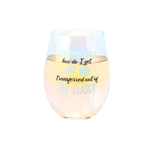 Homeschool Day 1 by Essentially Yours - 18 oz Stemless Wine Glass