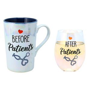 Before & After Patients by Essentially Yours - 18 oz. Stemless Glass & 15 oz. Latte Cup Set