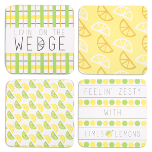 "Zesty by Livin' on the Wedge - 4"" (4 Piece) Coaster Set with Box"