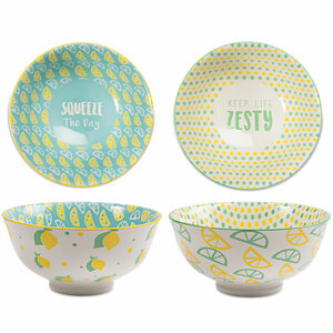 "Limes or Lemons by Livin' on the Wedge - 4.75"" Porcelain Bowl Set"
