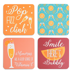 "Celebration Citrus by Livin' on the Wedge - 4"" (4 Piece) Coaster Set with Box"