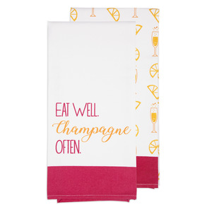 "Champagne Often by Livin' on the Wedge - Tea Towel Gift Set (2 - 19.75"" x 27.5"")"