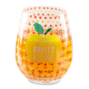 Apples Alone by Livin' on the Wedge - 17 oz Crystal Stemless Wine Glass