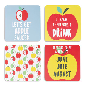 "Bad Apple by Livin' on the Wedge - 4"" (4 Piece) Coaster Set with Box"
