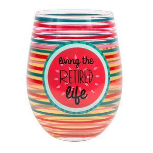 Retired by Livin' on the Wedge - 18 oz Crystal Stemless Wine Glass