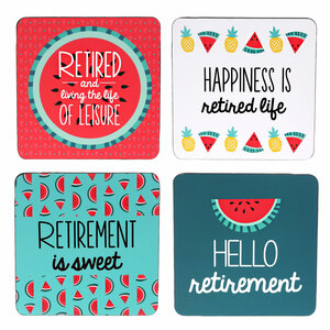 "Hello Retirement by Livin' on the Wedge - 4"" (4 Piece) Coaster Set with Box"