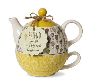 Friend by Bloom by Amylee Weeks - 15 oz. Teapot & 8 oz. Cup
