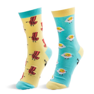 Bacon and Eggs by Late Night Snacks - S/M Unisex Socks