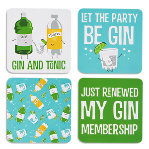 "Gin & Tonic by Late Night Last Call - 4"" (4 Piece) Coaster Set with Box"