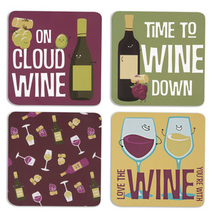 "Wine by Late Night Last Call - 4"" (4 Piece) Coaster Set with Box"