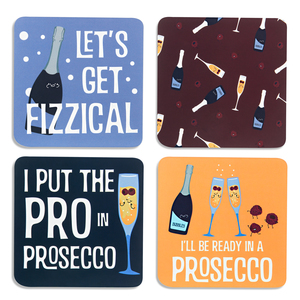 "Prosecco by Late Night Last Call - 4"" (4 Piece) Coaster Set with Box"