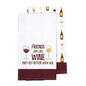 "Wine by Late Night Last Call - Tea Towel Gift Set (2 - 19.75"" x 27.5"")"