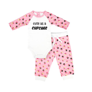 Cute as a Cupcake by Late Night Snacks - 6-12 Months Pink Bodysuit & Pants Set