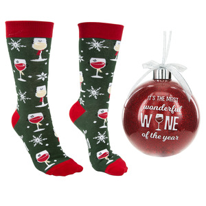 "Wonderful Wine by Late Night Last Call - 4"" Ornament  with Unisex Holiday Socks"