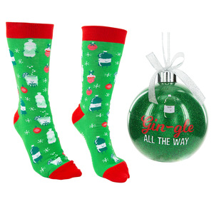 "Gin-gle by Late Night Last Call - 4"" Ornament  with Unisex Holiday Socks"