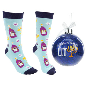 "8 Nights by Late Night Last Call - 4"" Ornament  with Unisex Holiday Socks"