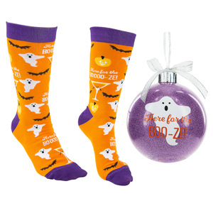 "Boo-ze! by Late Night Last Call - 4"" Ornament  with Unisex Holiday Socks"