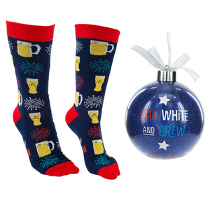"Red, White and Brew by Late Night Last Call - 4"" Ornament  with Unisex Holiday Socks"