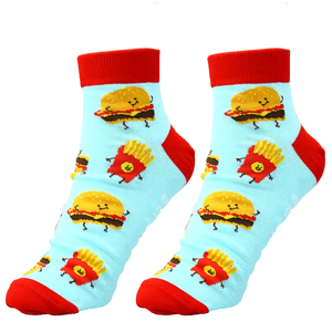 Burger and Fries by Late Night Snacks - Cotton Blend Ankle Socks