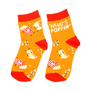 Popcorn by Late Night Snacks - S/M Youth Cotton Blend Crew Socks