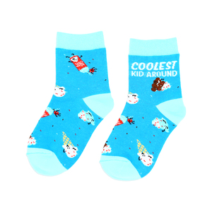 Ice Cream by Late Night Snacks - S/M Youth Cotton Blend Crew Socks