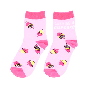 Cupcakes by Late Night Snacks - S/M Youth Cotton Blend Crew Socks