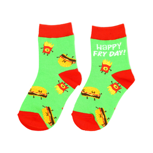 Burger and Fries by Late Night Snacks - S/M Youth Cotton Blend Crew Socks