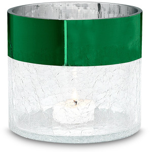 "Green Metallic Rim Cylinder by Perfectly Paisley Holiday - 4"" Crackled Glass Cylinder"