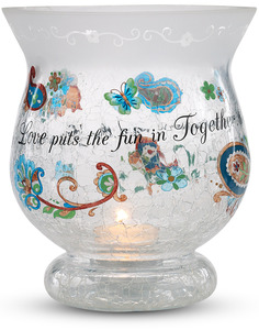 "Love by Perfectly Paisley - 5.5"" Glass Hurricane"