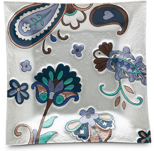 "Paisley Floral by Perfectly Paisley - 10"" Square Fused Glass Plate"