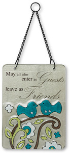 "Friends by Perfectly Paisley - 6"" x 8"" Hanging Glass Plaque"